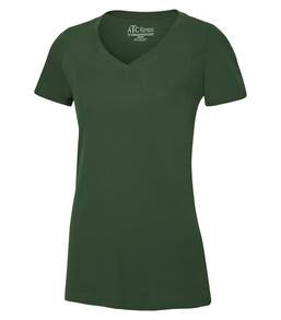 FOREST GREEN ATC EUROSPUN® RING SPUN V-NECK LADIES' TEE. ATC8001L
