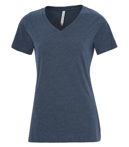 HEATHER NAVY ATC EUROSPUN® RING SPUN V-NECK LADIES' TEE. ATC8001L