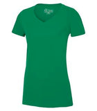 KELLY GREEN ATC EUROSPUN® RING SPUN V-NECK LADIES' TEE. ATC8001L
