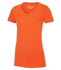 ORANGE ATC EUROSPUN® RING SPUN V-NECK LADIES' TEE. ATC8001L