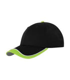 BLACK / WHITE / LIME SHOCK GREY ATC CONTRAST TIPPED VISOR CAP. C1304