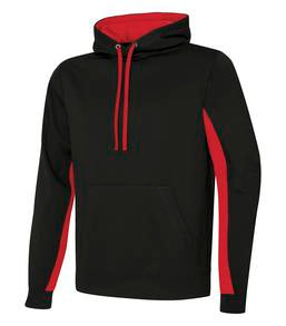 BLACK / TRUE RED ATC GAME DAY FLEECE COLOUR BLOCK HOODED SWEATSHIRT. F2011