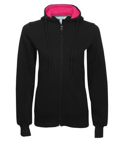 BLACK / RASPBERRY ATC PRO FLEECE FULL ZIP HOODED LADIES' SWEATSHIRT. L201