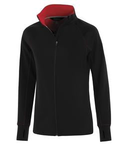 BLACK / TRUE RED ATC LIFESTYLE FLEECE FULL ZIP LADIES' SWEATSHIRT. L2021