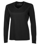 BLACK ATC PRO TEAM LONG SLEEVE V-NECK LADIES' TEE. L3520LS