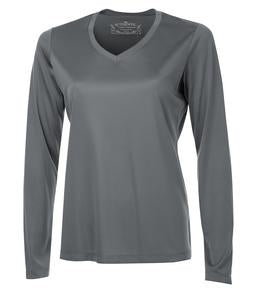 COAL GREY ATC PRO TEAM LONG SLEEVE V-NECK LADIES' TEE. L3520LS
