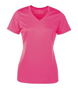 EXTREME PINK ATC PRO TEAM SHORT SLEEVE V-NECK LADIES' TEE. L3520