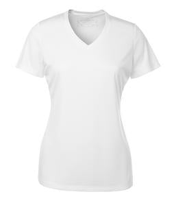 WHITE ATC PRO TEAM SHORT SLEEVE V-NECK LADIES' TEE. L3520