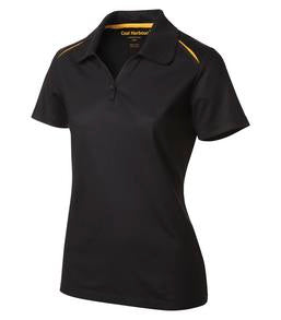 BLACK / GOLD COAL HARBOUR® SNAG RESISTANT CONTRAST INSET LADIES' SPORT SHIRT. L4002