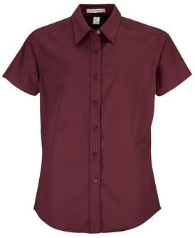 BURGUNDY COAL HARBOUR® EASY CARE SHORT SLEEVE WOVEN LADIES' SHIRT. L510