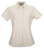LIGHT STONE COAL HARBOUR® EASY CARE SHORT SLEEVE WOVEN LADIES' SHIRT. L510