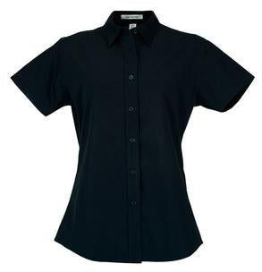 NAVY COAL HARBOUR® EASY CARE SHORT SLEEVE WOVEN LADIES' SHIRT. L510