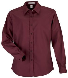 BURGUNDY COAL HARBOUR® EASY CARE LONG SLEEVE WOVEN LADIES' SHIRT. L610