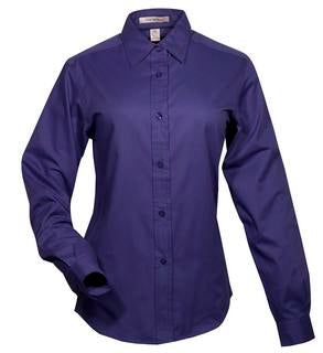 MEDITERRANEAN BLUE COAL HARBOUR® EASY CARE LONG SLEEVE WOVEN LADIES' SHIRT. L610