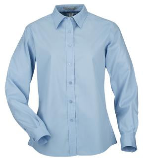 LIGHT BLUE COAL HARBOUR® EASY CARE LONG SLEEVE WOVEN LADIES' SHIRT. L610