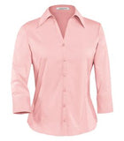 LIGHT PINK COAL HARBOUR® EASY CARE 3/4 SLEEVE WOVEN LADIES' SHIRT. L615