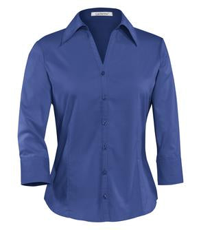 MEDITERRANEAN BLUE COAL HARBOUR® EASY CARE 3/4 SLEEVE WOVEN LADIES' SHIRT. L615