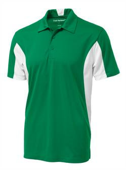 KELLY GREEN / WHITE COAL HARBOUR® SNAG RESISTANT COLOUR BLOCK SPORT SHIRT. S4001