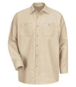 LIGHT TAN RED KAP® INDUSTRIAL LONG SLEEVE WORK SHIRT. SP14