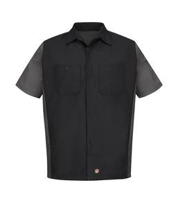BLACK / CHARCOAL RED KAP® SHORT SLEEVE WOVEN CREW SHIRT. SY20