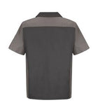 CHARCOAL / GREY RED KAP® SHORT SLEEVE WOVEN CREW SHIRT. SY20