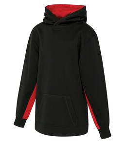 BLACK / TRUE RED ATC GAME DAY FLEECE COLOUR BLOCK HOODED YOUTH SWEATSHIRT. Y2011