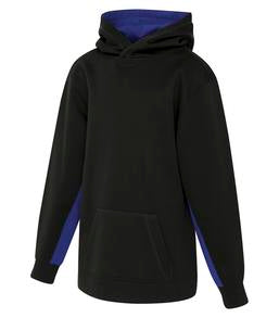 BLACK / TRUE ROYAL ATC GAME DAY FLEECE COLOUR BLOCK HOODED YOUTH SWEATSHIRT. Y2011