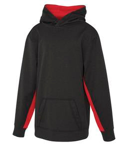 CHARCOAL / HEATHER TRUE RED ATC GAME DAY FLEECE COLOUR BLOCK HOODED YOUTH SWEATSHIRT. Y2011