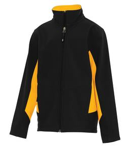 BLACK / GOLD COAL HARBOUR® EVERYDAY COLOUR BLOCK SOFT SHELL YOUTH JACKET. Y7604