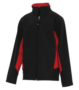 BLACK / TRUE RED COAL HARBOUR® EVERYDAY COLOUR BLOCK SOFT SHELL YOUTH JACKET. Y7604
