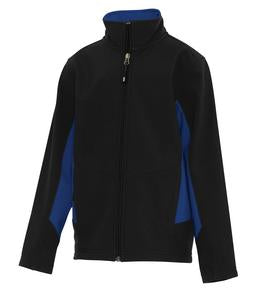 BLACK / TRUE ROYAL COAL HARBOUR® EVERYDAY COLOUR BLOCK SOFT SHELL YOUTH JACKET. Y7604