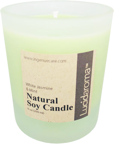 Lucid Aroma White Jasmine & Mint Natural Soy Candle 9 oz
