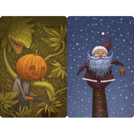 Dixit Pumpkinhead and Santa promo cards