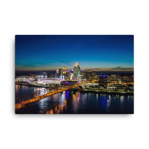 """Night Drone Shot of Beautiful Cincinnati"" - Canvas"