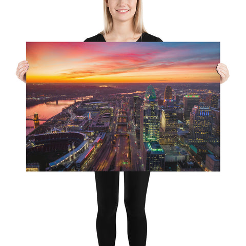 """Cincinnati Sunset Over Downtown"" - Poster"