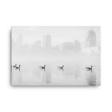 """Ducks On The River"" - B&W Canvas"