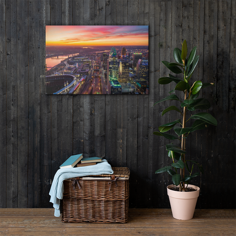 """Cincinnati Sunset Over Downtown"" - Canvas"