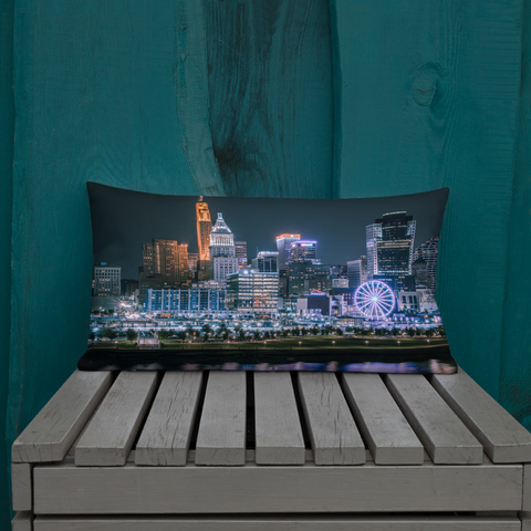 """Night City Skywheel"" - Premium Throw Pillow"