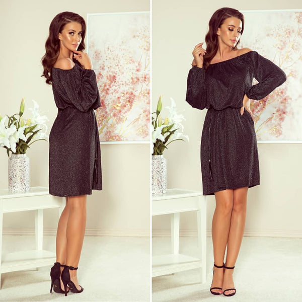Off The Shoulder Glitter Mini Dress with Belt & Pockets In Black/Silver