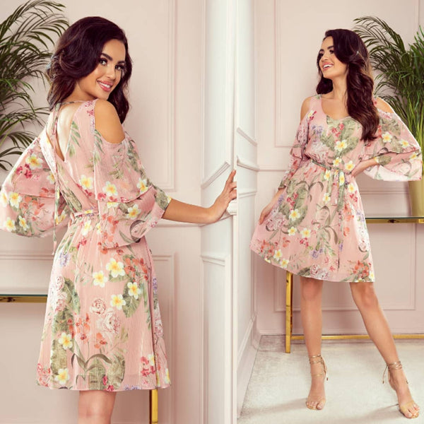 Cold Shoulder Chiffon Mini Dress In Floral Pattern