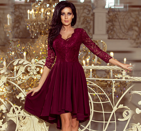 9ae1098691 Burgundy High-Low Lace Bodice Flared Dress – ellaboutique