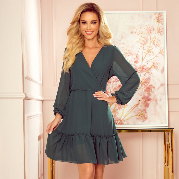 329-3 Chiffon Ruffled Mini Dress In Green