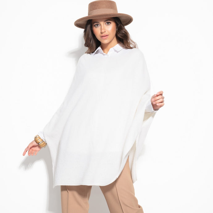 F1108 Oversized Wool Poncho In Ecru