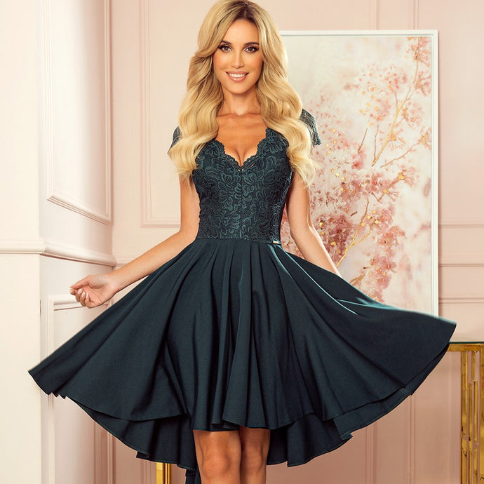 300-5 High-Low Lace Bodice Dress In Bottle Green