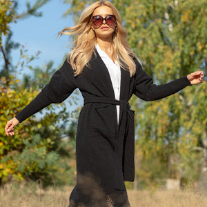 F1116 Front Pocket Belted Wool Cardigan In Black