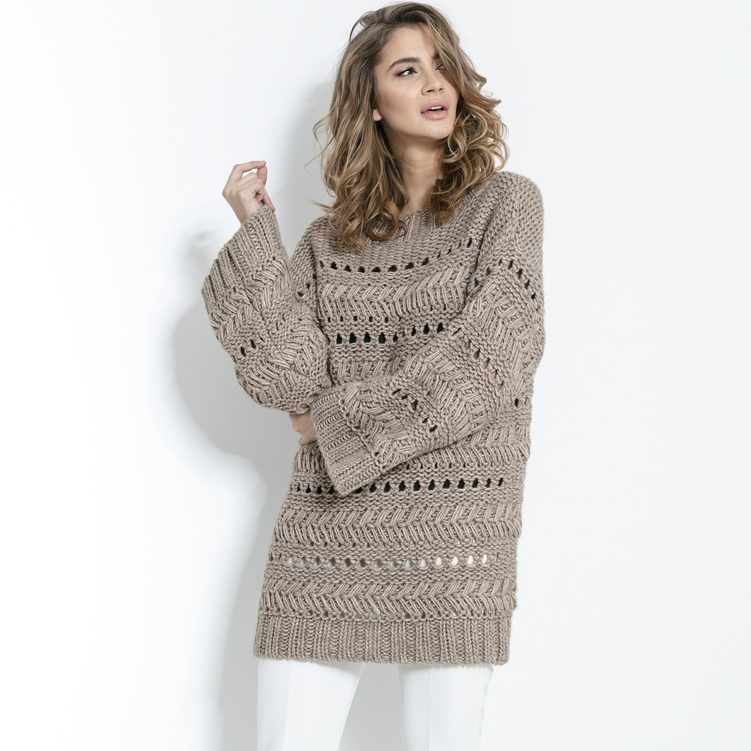 F862 Chunky Knit Long Jumper In Brown