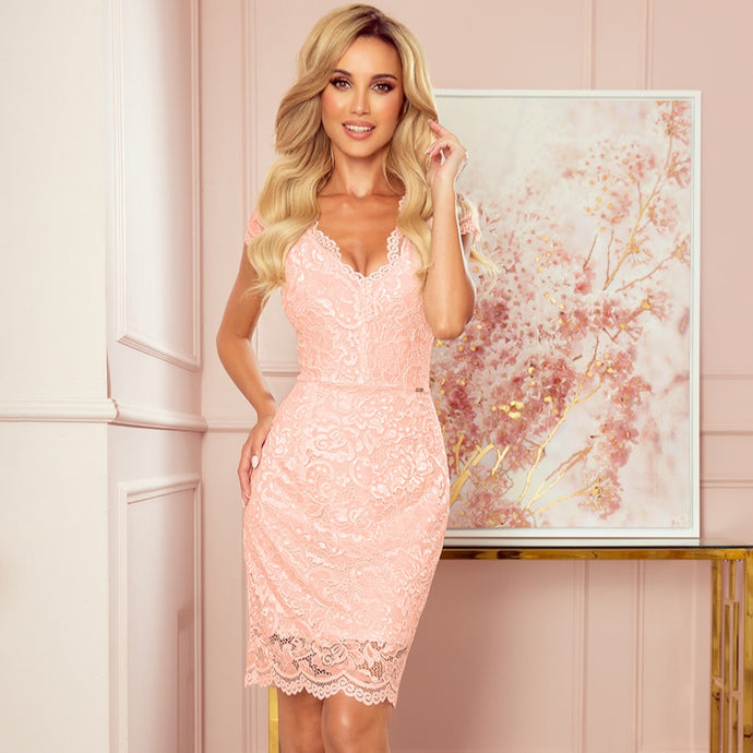 316-2 Lace Bodycon Mini Dress In Peach