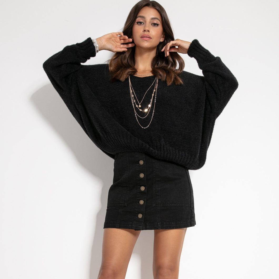 F1066 Oversized Batwing-style Wide Fluffy Knit Sweater In Black