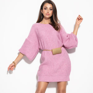 F1105 Oversized Knitted Sweater Mini Dress In Lilac