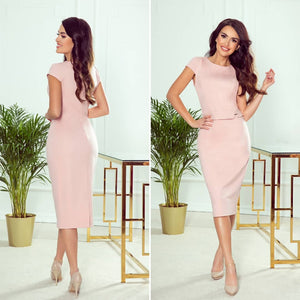 301-1 Belted Midi Dress In Powder Pink